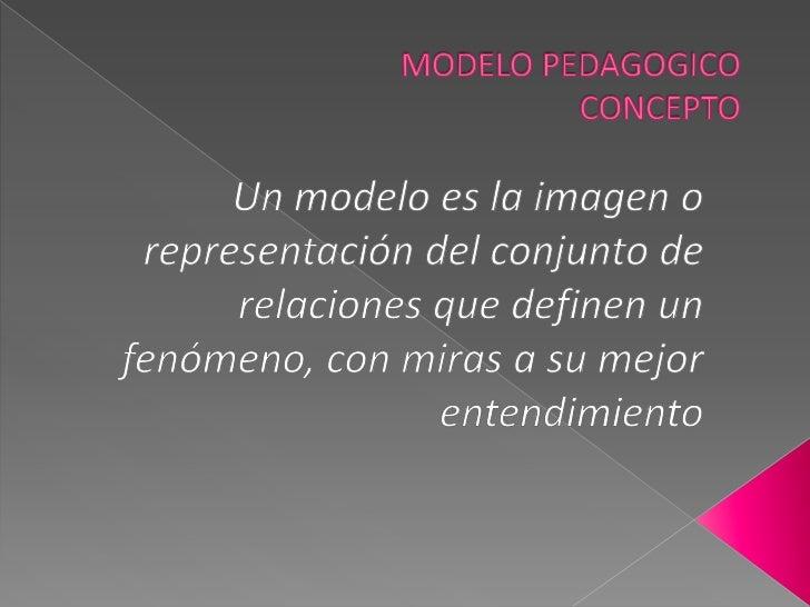 MODELO PEDAGOGICOCONCEPTO<br />Un modelo es la imagen o representación del conjunto de relaciones que definen un fenómeno,...