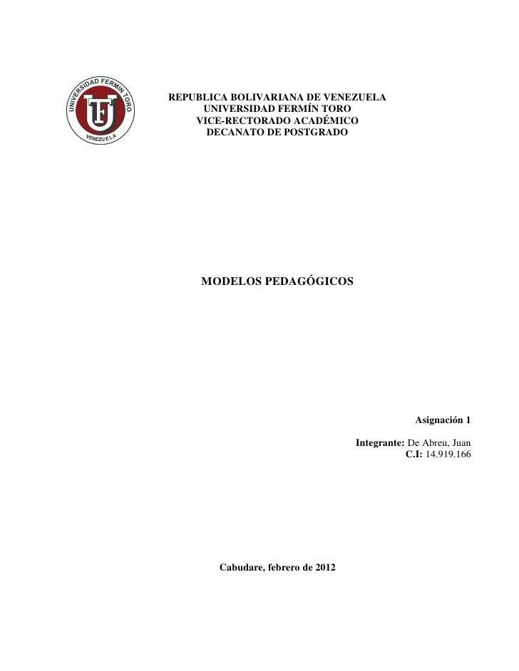 REPUBLICA BOLIVARIANA DE VENEZUELA     UNIVERSIDAD FERMÍN TORO    VICE-RECTORADO ACADÉMICO      DECANATO DE POSTGRADO     ...