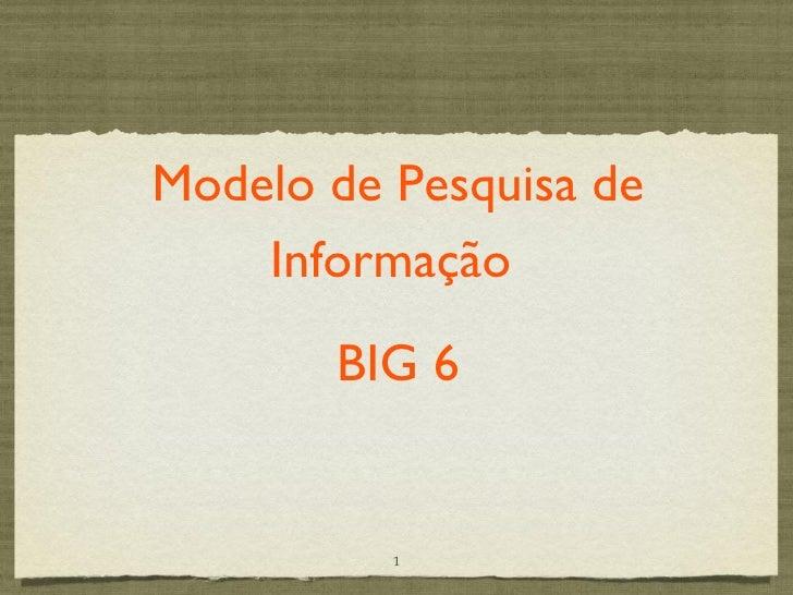 Modelo de Pesquisa de    Informação       BIG 6          1
