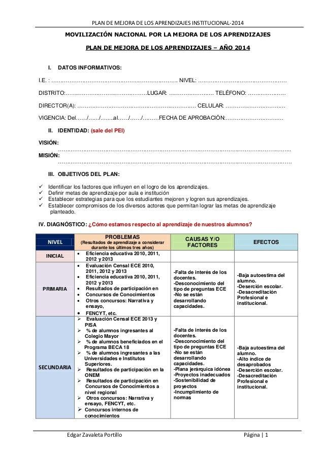 PLAN DE MEJORA DE LOS APRENDIZAJES INSTITUCIONAL-2014 MOVILIZACIÓN NACIONAL POR LA MEJORA DE LOS APRENDIZAJES PLAN DE MEJO...