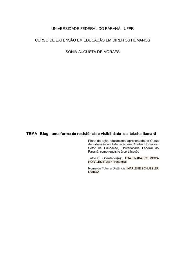 UNIVERSIDADE FEDERAL DO PARANÁ - UFPR CURSO DE EXTENSÃO EM EDUCAÇÃO EM DIREITOS HUMANOS SONIA AUGUSTA DE MORAES TEMA Blog:...