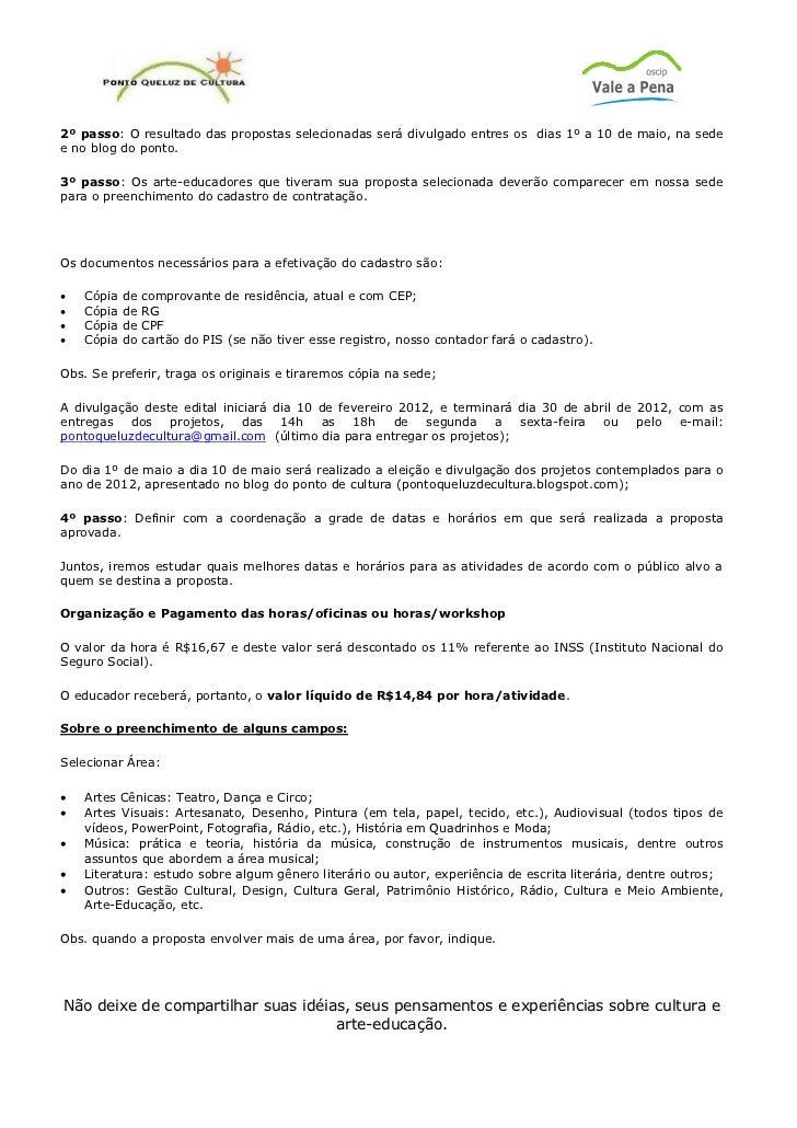 Modelo Proposta Oficina Cultural 2012