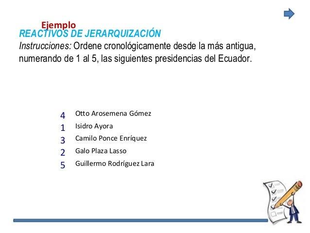 Ejemplo REACTIVOS DE JERARQUIZACIÓN Instrucciones: Ordene cronológicamente desde la más antigua, numerando de 1 al 5, las ...