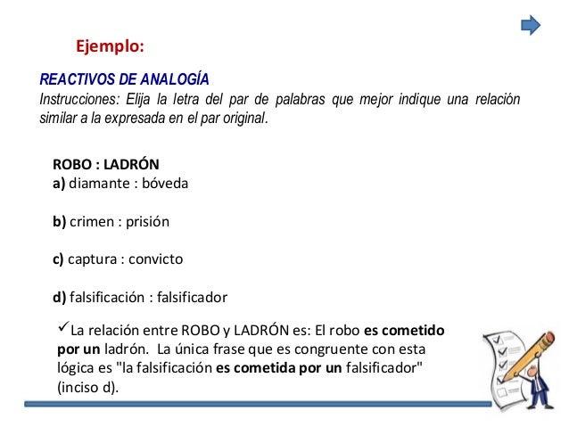 Ejemplo: REACTIVOS DE ANALOGÍA Instrucciones: Elija la letra del par de palabras que mejor indique una relación similar a ...