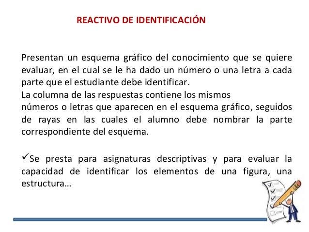 REACTIVO DE IDENTIFICACIÓN Presentan un esquema gráfico del conocimiento que se quiere evaluar, en el cual se le ha dado u...