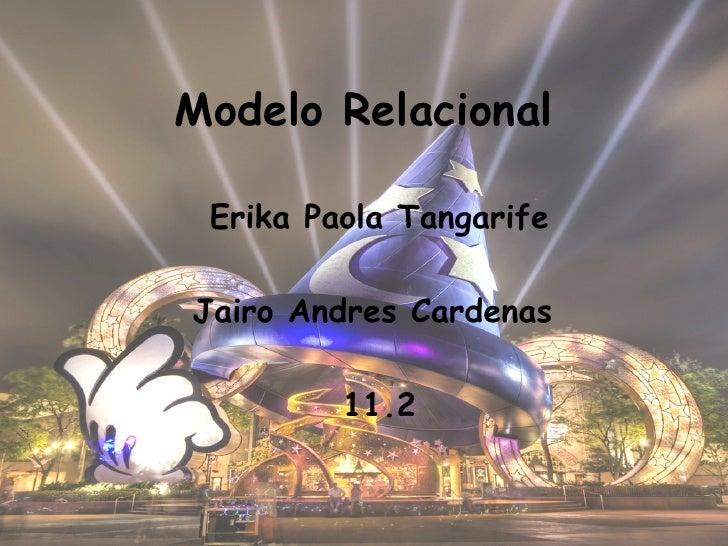 Modelo Relacional Erika Paola Tangarife Jairo Andres Cardenas  11.2
