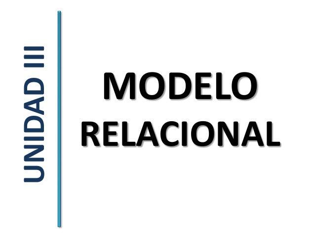 UNIDAD III              MODELO             RELACIONAL