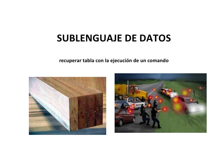 SUBLENGUAJE DE DATOS recuperar tabla con la ejecución de un comando