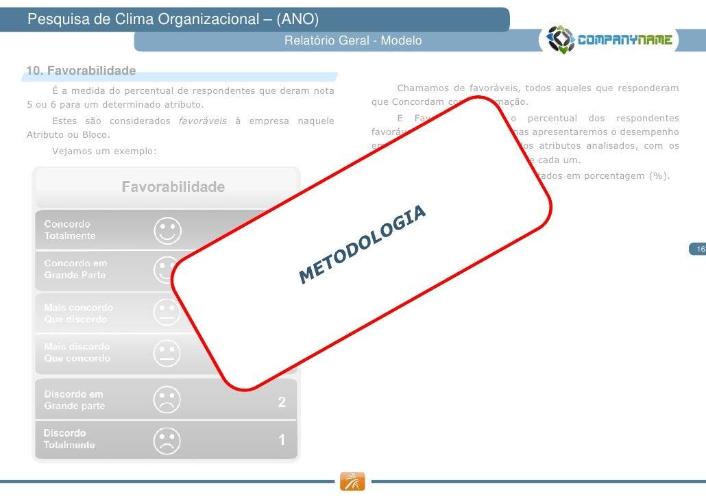Pesquisa de Clima Organizacional – (ANO)                                                  Relatório Geral - Modelo10. Favo...