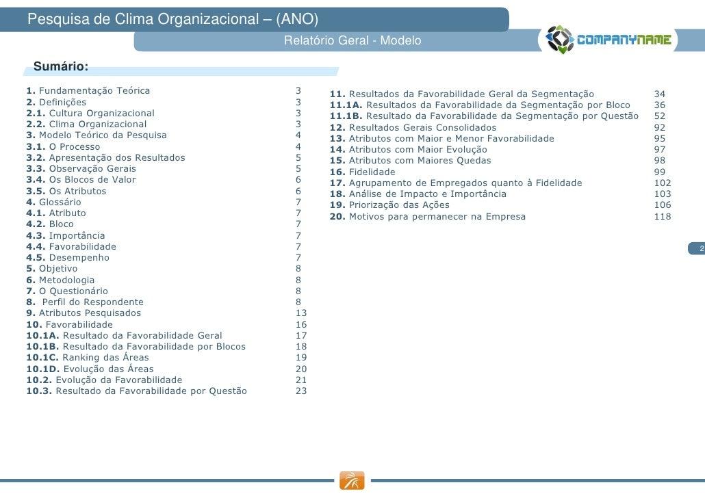 Pesquisa de Clima Organizacional – (ANO)                                                Relatório Geral - Modelo Sumário:1...