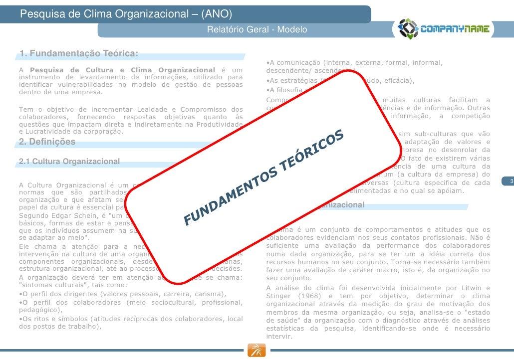 Pesquisa de Clima Organizacional – (ANO)                                                       Relatório Geral - Modelo1. ...