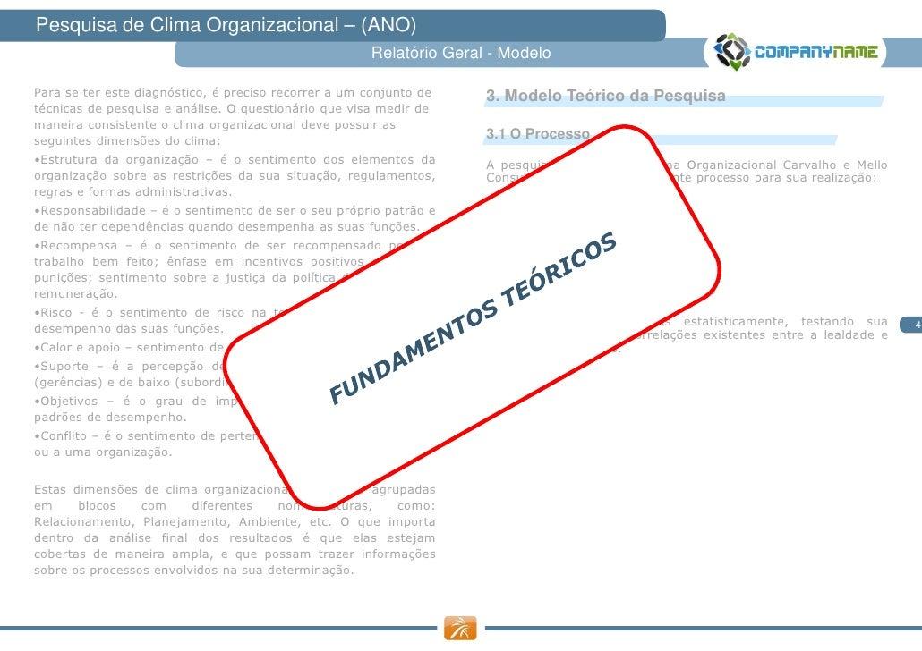 Pesquisa de Clima Organizacional – (ANO)                                                       Relatório Geral - ModeloPar...