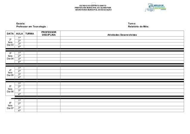 Escola: Turno: Professor em Tecnologia : Relatório do Mês: DATA AULA TURMA PROFESSOR DISCIPLINA Atividades Desenvolvidas 2...