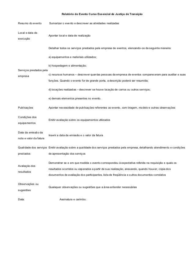 Relatório do Evento Curso Essencial de Justiça de TransiçãoResumo do evento          Sumarizar o evento e descrever as ati...