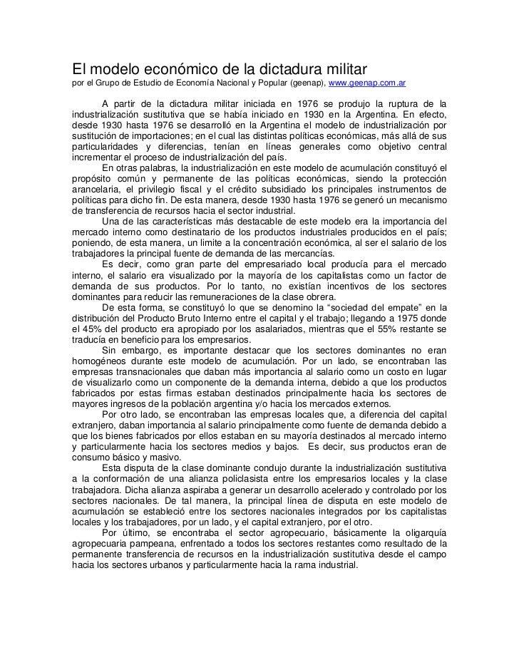 El modelo económico de la dictadura militarpor el Grupo de Estudio de Economía Nacional y Popular (geenap), www.geenap.com...