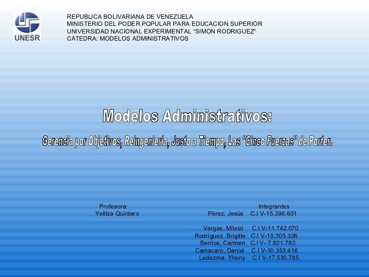 REPUBLICA BOLIVARIANA DE VENEZUELA MINISTERIO DEL PODER POPULAR PARA EDUCACION SUPERIOR UNIVERSIDAD NACIONAL EXPERIMENTAL ...