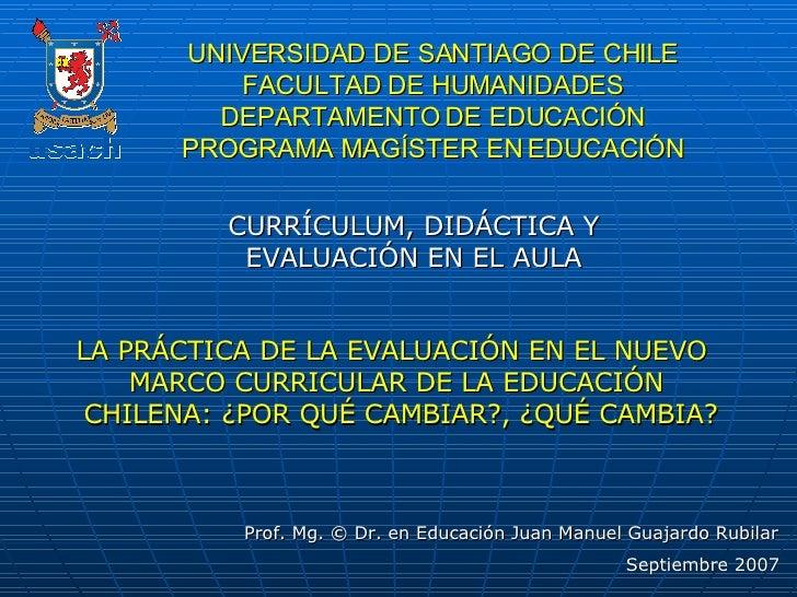UNIVERSIDAD DE SANTIAGO DE CHILE FACULTAD DE HUMANIDADES DEPARTAMENTO DE EDUCACIÓN PROGRAMA MAGÍSTER EN EDUCACIÓN CURRÍCUL...