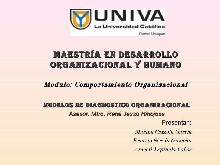 MAESTRÍA EN DESARROLLO  ORGANIZACIONAL Y HUMANOMódulo: Comportamiento OrganizacionalMODELOS DE DIAGNOSTICO ORGANIZACIONAL ...
