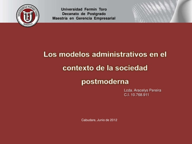 Universidad Fermín Toro    Decanato de PostgradoMaestría en Gerencia Empresarial                                        Lc...