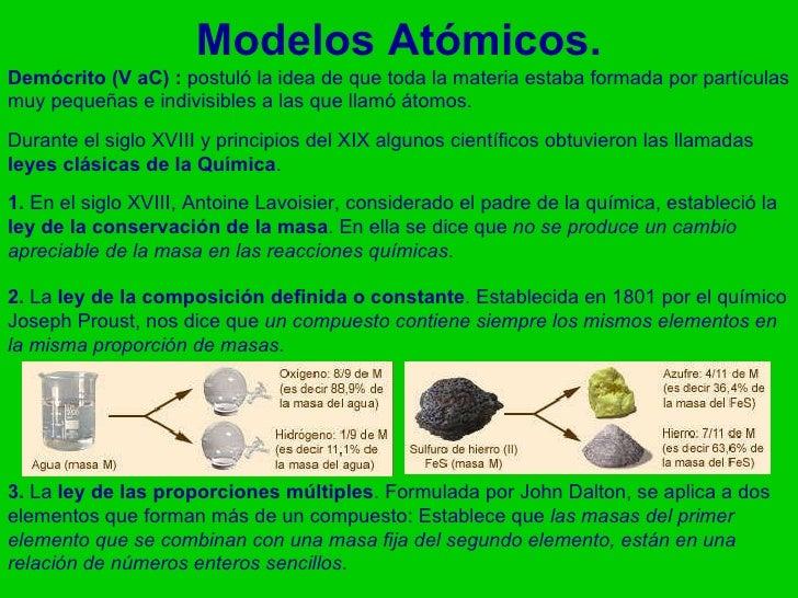 Modelos Atómicos. Demócrito (V aC) :  postuló la idea de que toda la materia estaba formada por partículas muy pequeñas e ...