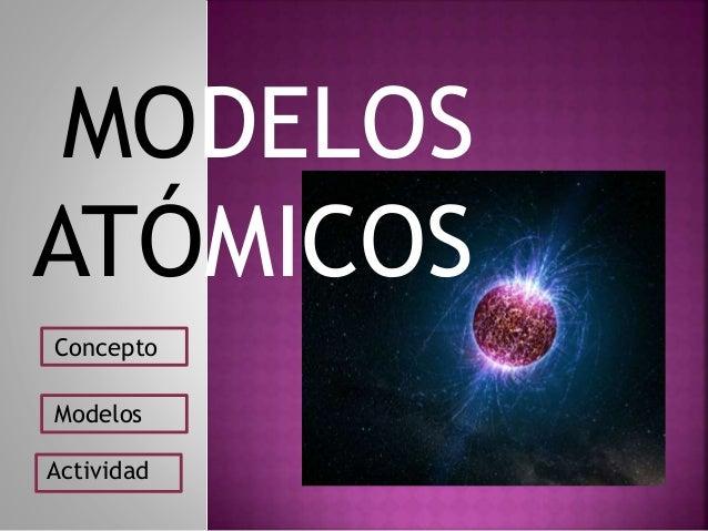 MODELOS ATÓMICOS Concepto Modelos Actividad