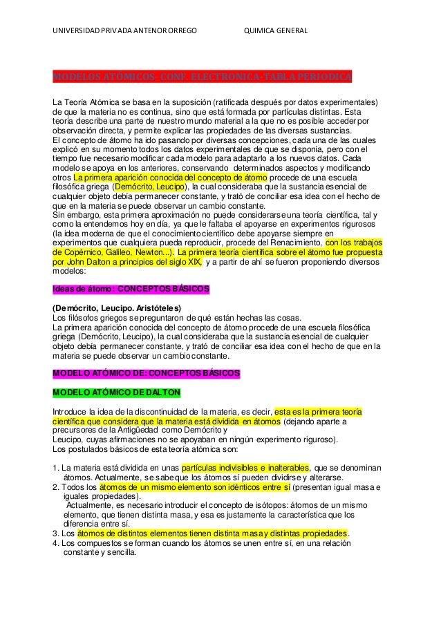 Modelos atmicos conf electronica de la tabla periodica universidadprivada antenororrego quimica general modelos atmicos conf electronica tablaperiodica la teora atmica se universidadprivada urtaz Image collections