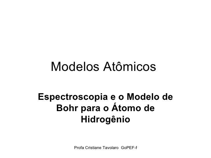 Modelos Atômicos  Espectroscopia e o Modelo de Bohr para o Átomo de Hidrogênio