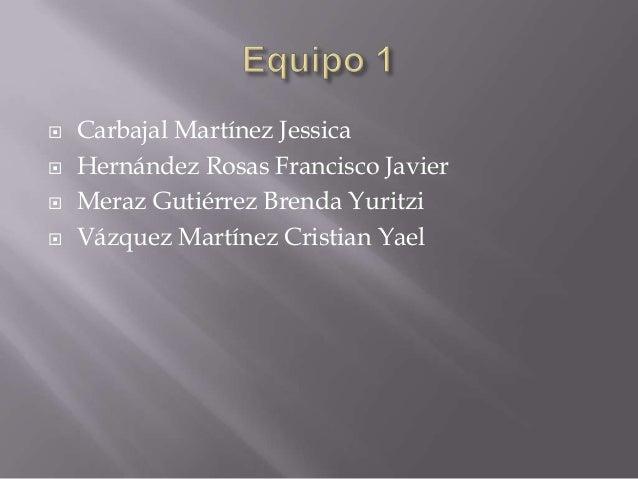  Carbajal Martínez Jessica Hernández Rosas Francisco Javier Meraz Gutiérrez Brenda Yuritzi Vázquez Martínez Cristian Y...