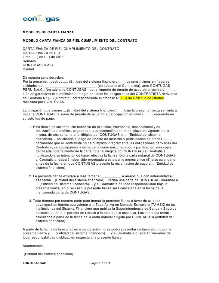 MODELOS DE CARTA FIANZAMODELO CARTA FIANZA DE FIEL CUMPLIMIENTO DEL CONTRATOCARTA FIANZA DE FIEL CUMPLIMIENTO DEL CONTRATO...