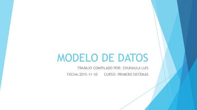 MODELO DE DATOS TRABAJO COMPILADO POR: ZHUNAULA LUIS FECHA:2015-11-10 CURSO: PRIMERO SISTEMAS