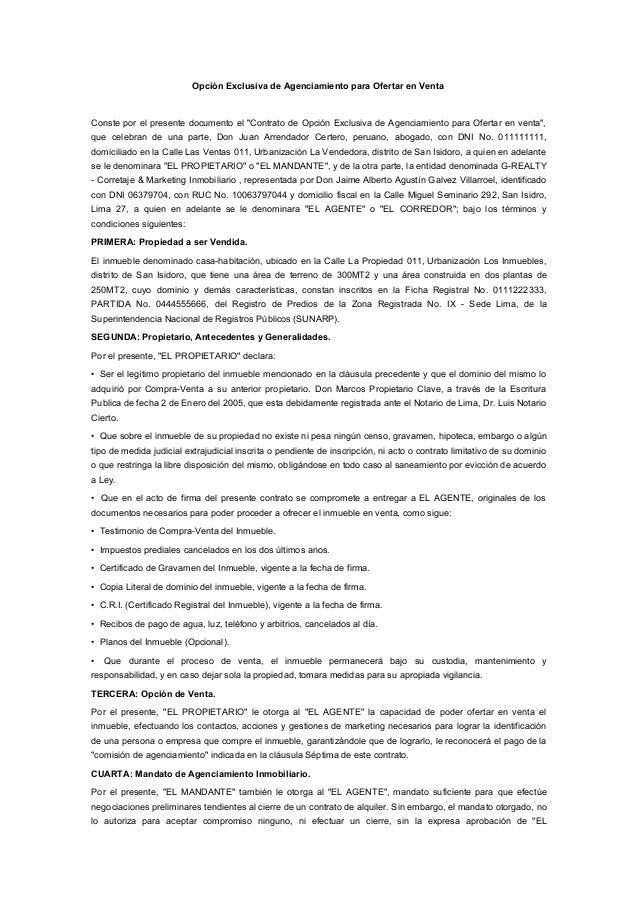 """Opción Exclusiva de Agenciamiento para Ofertar en Venta Conste por el presente documento el """"Contrato de Opción Exclusiva ..."""