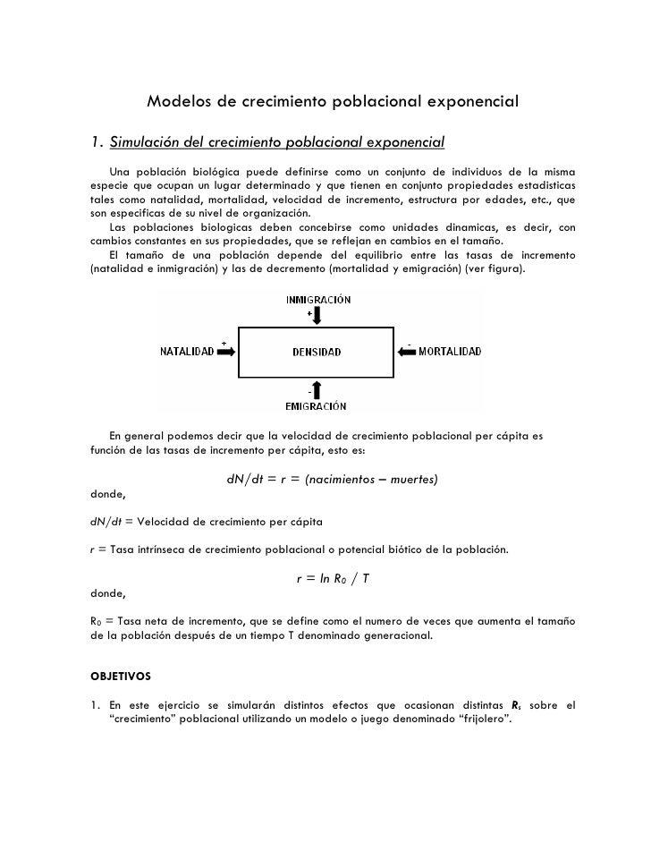 Modelos de crecimiento poblacional exponencial  1. Simulación del crecimiento poblacional exponencial     Una población bi...