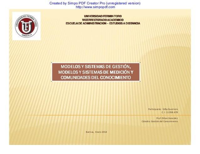 Created by Simpo PDF Creator Pro (unregistered version) http://www.simpopdf.com UNIVERSIDAD FERMIN TORO VICERRECTORADO ACA...