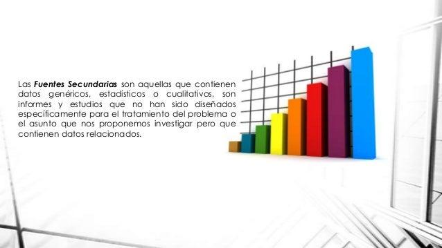 Las Fuentes Secundarias son aquellas que contienen datos genéricos, estadísticos o cualitativos, son informes y estudios q...