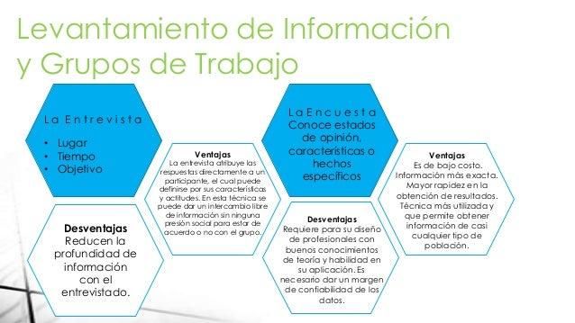 Levantamiento de Información y Grupos de Trabajo L a E n t r e v i s t a • Lugar • Tiempo • Objetivo Ventajas La entrevist...
