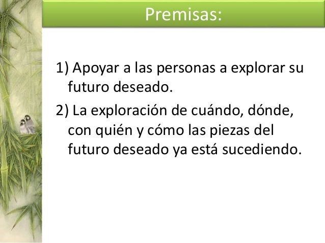 PREMISAS: El punto de vista centrado en la solución. El modelo de recursos. El modelo de cambio. El modelo de cooperación.