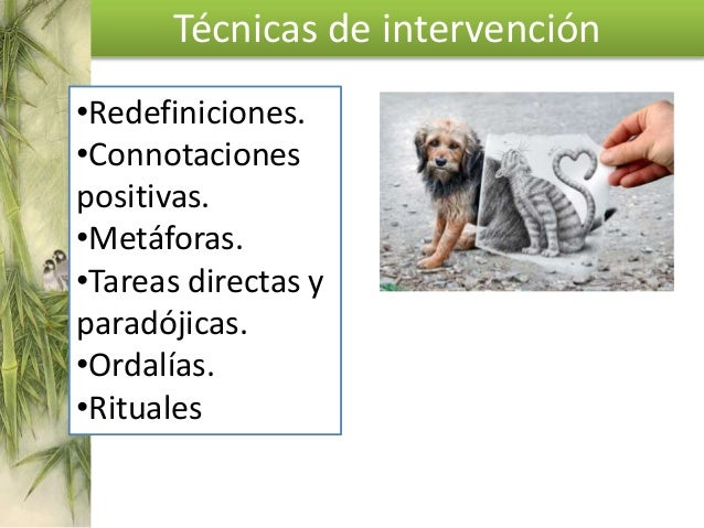 Técnicas de intervención Intervenciones sobre la secuencia sintomática: •Cambiar la frecuencia, aparición, duración, perso...