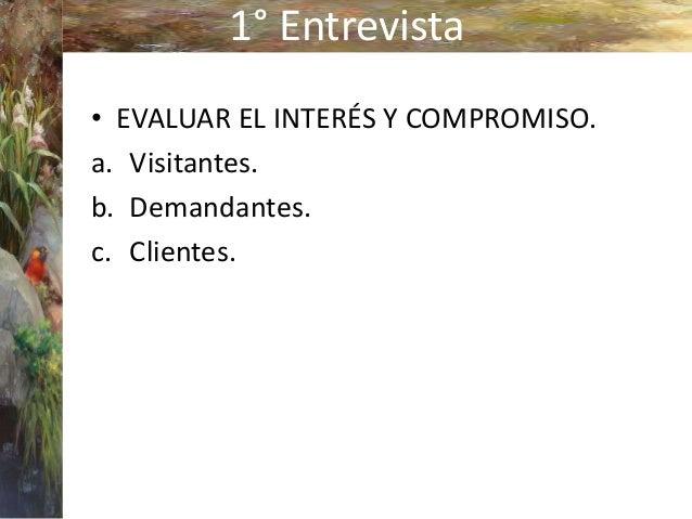 """Elementos de una entrevista Primera sesión: """"Charlar sin problemas"""". """"Excepciones"""". """"Objetivos"""" o """"Metas"""". """"Preguntas hipo..."""