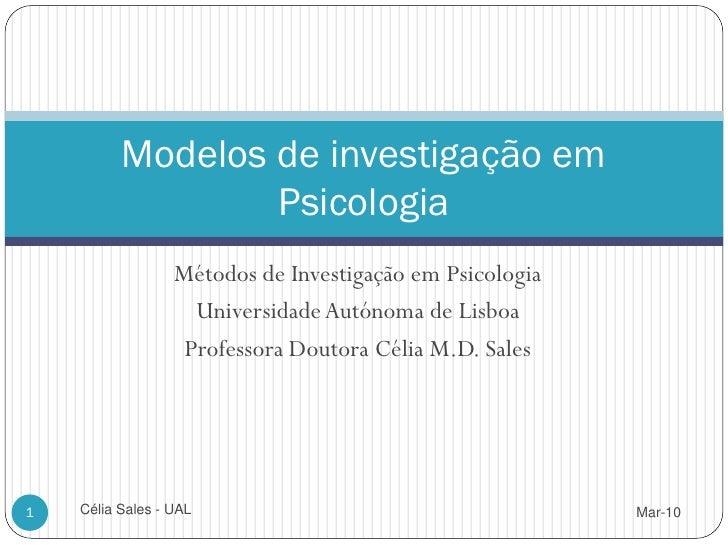 Modelos de Investigacao Psicologia 2010 (MIP 3)
