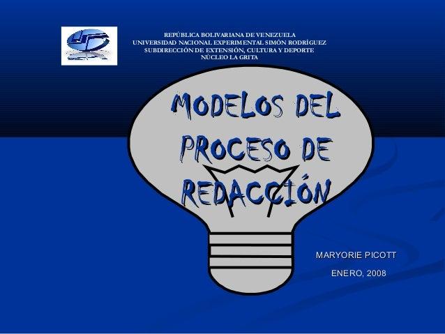 MODELOS DELMODELOS DEL PROCESO DEPROCESO DE REDACCIÓNREDACCIÓN REPÚBLICA BOLIVARIANA DE VENEZUELA UNIVERSIDAD NACIONAL EXP...