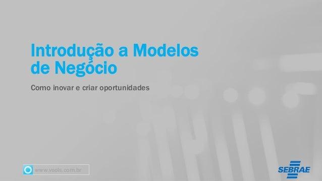 www.vools.com.br Introdução a Modelos de Negócio Como inovar e criar oportunidades