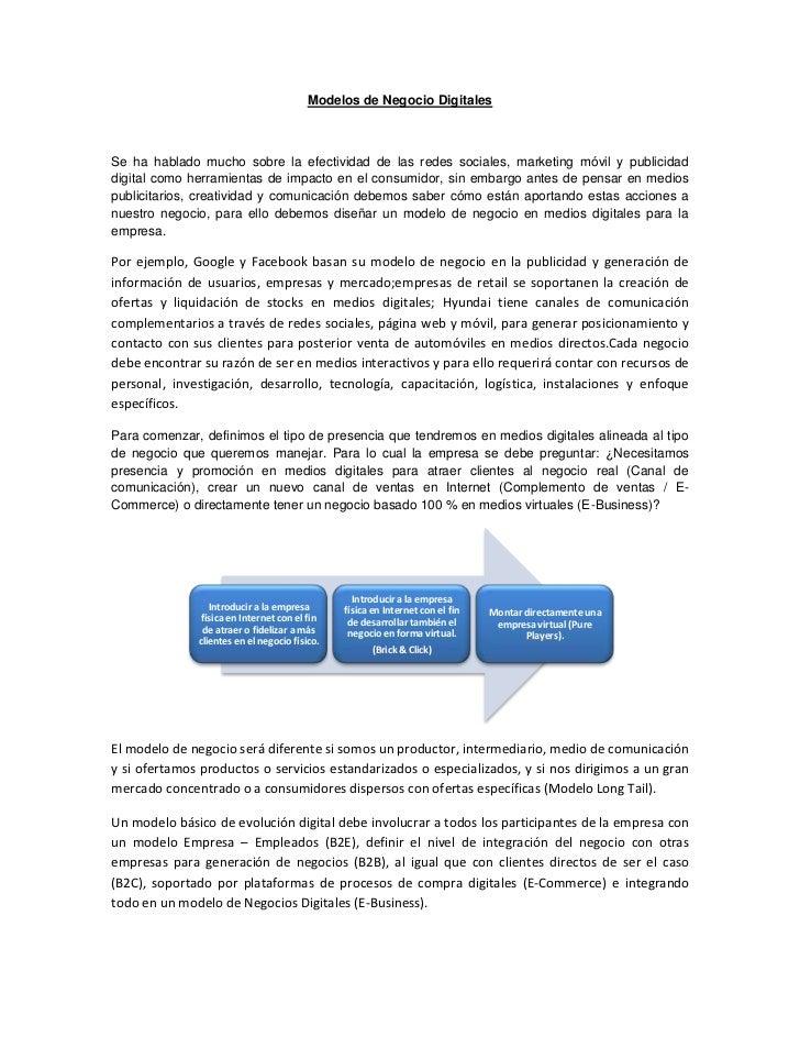Modelos de Negocio DigitalesSe ha hablado mucho sobre la efectividad de las redes sociales, marketing móvil y publicidaddi...