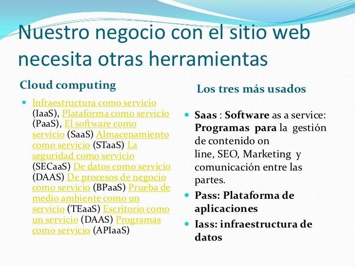Nuestro negocio con el sitio webnecesita otras herramientasCloud computing                        Los tres más usados Inf...