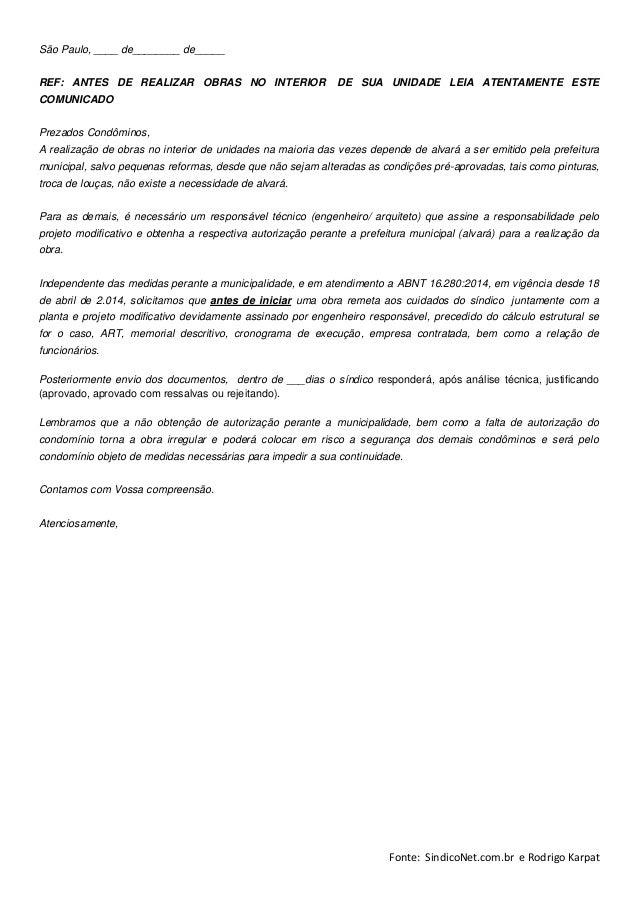 Modelos de notifica o abnt obras sindiconet - Modelos de barbacoas de obra ...