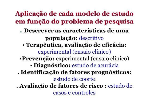 Aplicação de cada modelo de estudoAplicação de cada modelo de estudo em função do problema de pesquisaem função do problem...