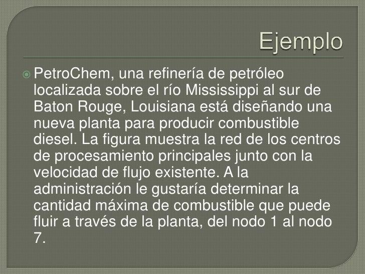 Ejemplo<br />PetroChem, una refinería de petróleo localizada sobre el río Mississippi al sur de Baton Rouge, Louisiana est...
