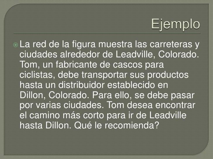 Ejemplo<br />La red de la figura muestra las carreteras y ciudades alrededor de Leadville, Colorado. Tom, un fabricante de...