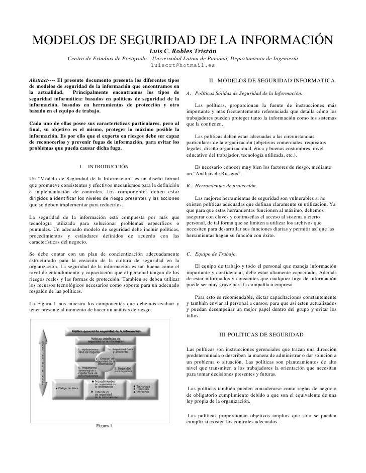MODELOS DE SEGURIDAD DE LA INFORMACIÓN                                                        Luis C. Robles Tristán      ...