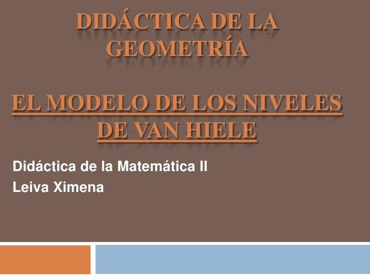 DIDÁCTICA DE LA           GEOMETRÍAEL MODELO DE LOS NIVELES      DE VAN HIELEDidáctica de la Matemática IILeiva Ximena