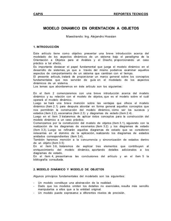 CAPIS                                                    REPORTES TECNICOS        MODELO DINAMICO EN ORIENTACION A OBJETOS...